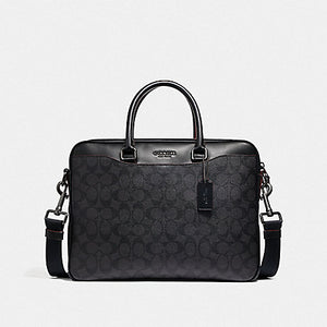 Coach Beckett Compact Laptop Bag In Signature Leather (Black Brown)