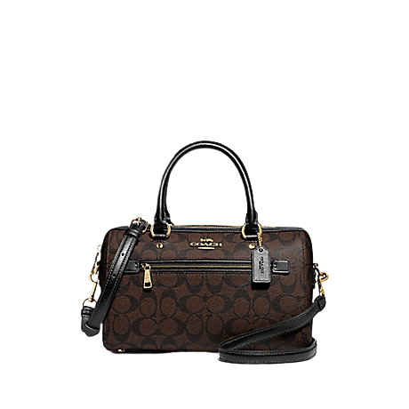 COACH Rowan Satchel In Signature Canvas (Brown Black)