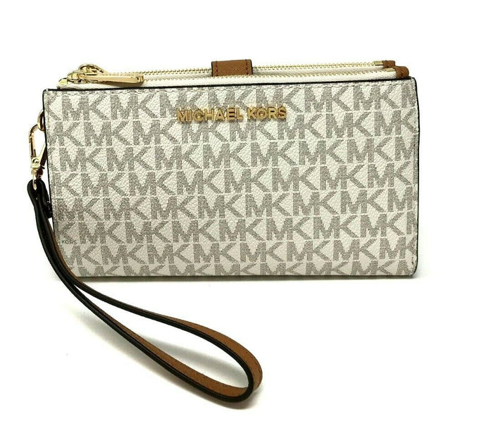 Michael Kors Double zip top Womens wristlet (Vanila printed)