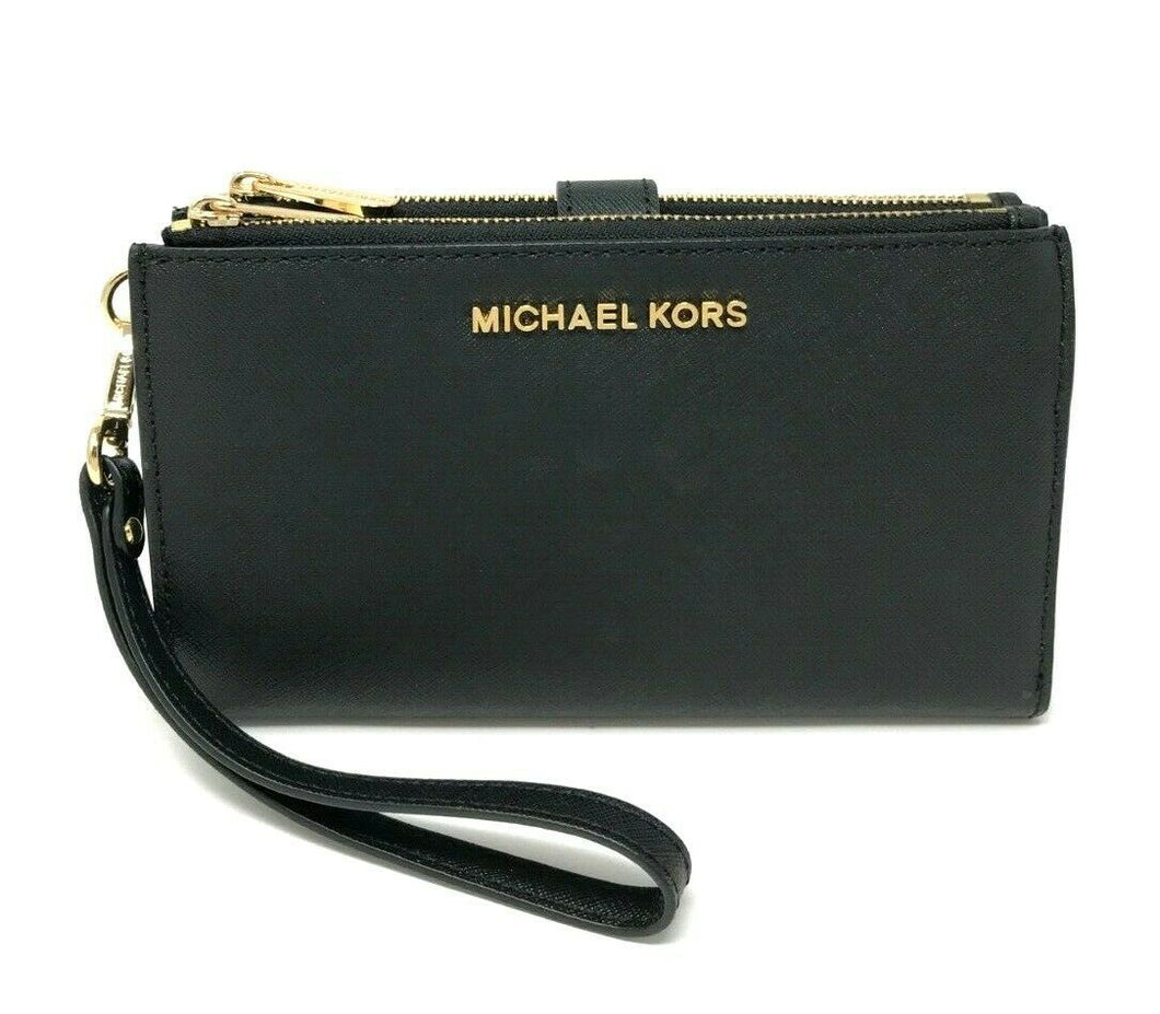Michael Kors Double zip Womens wristlet (Black Plain)