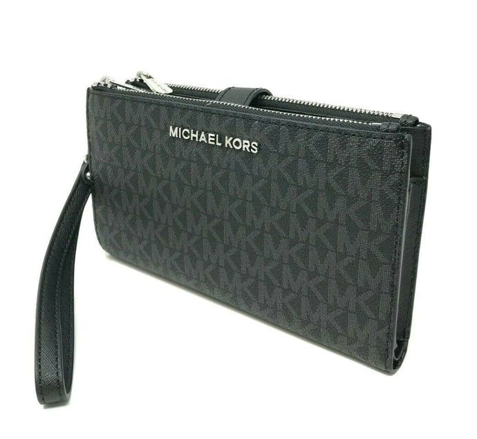 Michael Kors Double zip top Womens wristlet (Black Print)