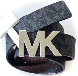 Michael Kors Logo Signature Leather MK Plaque Buckle Belt (Black)