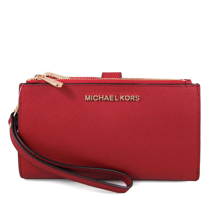 Michael Kors Double zip top Womens wristlet (Scarlet)