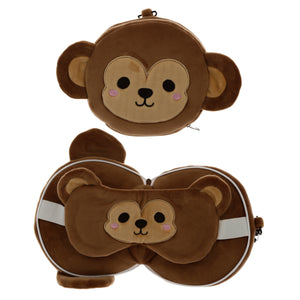 Load image into Gallery viewer, Monkey Travel Pillow and Eyemask