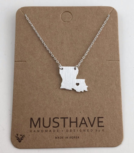 Song Lily - LA Map Necklace in Silver