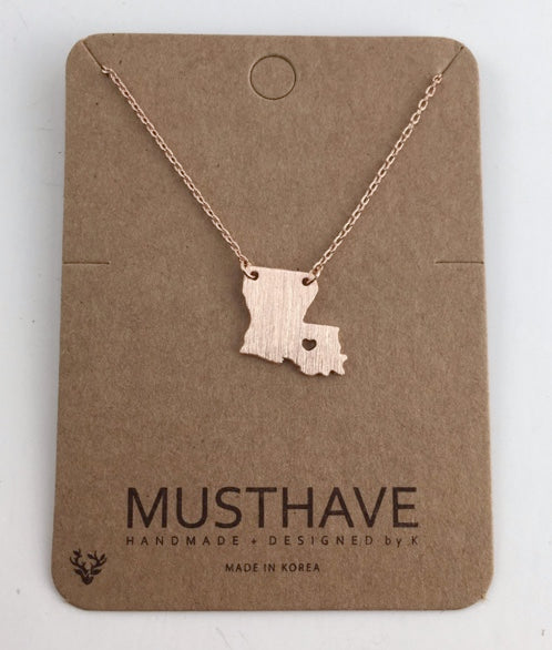 Song Lily - LA Map Necklace in Rose Gold