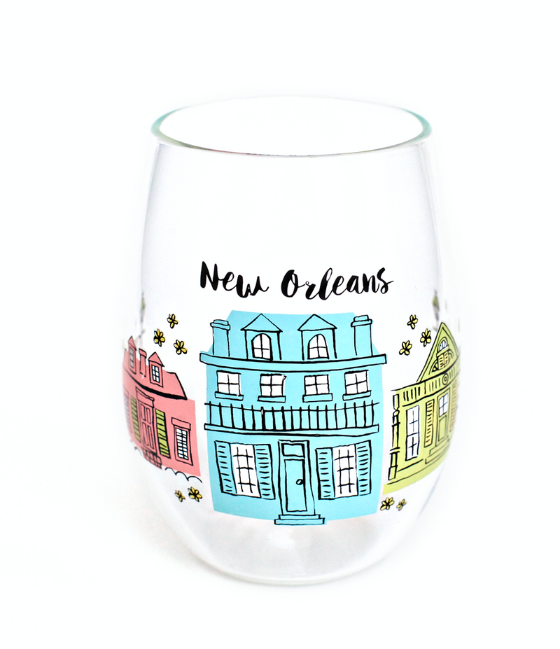 The Parish Line - Creole Cottages Stemless Wine Glass