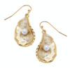 Susan Shaw - Gold Oyster with Pearl Earrings
