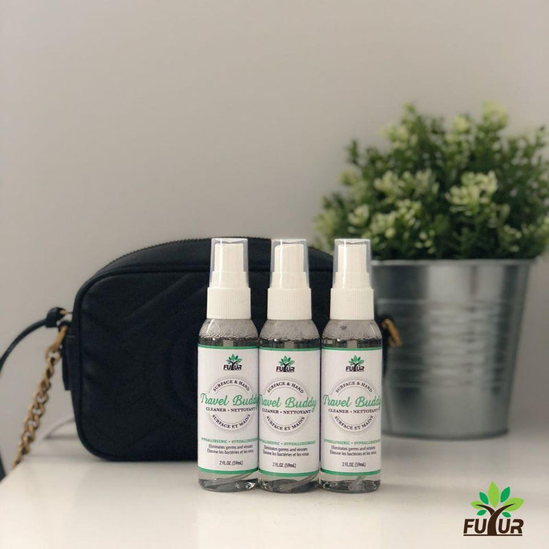 three pack Futur - Travel Buddy - All Natural Hand & Surface Sanitizer 2 fl oz