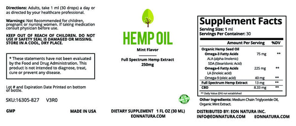 Hemp Oil 250mg, THC Free