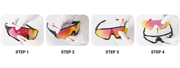 Cycling sunglasses lens change guide open