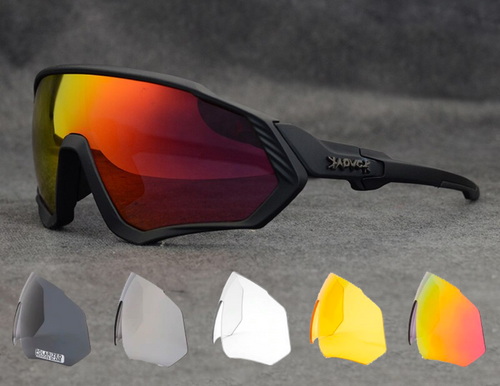 Cycling glasses with 5 changeable lenses