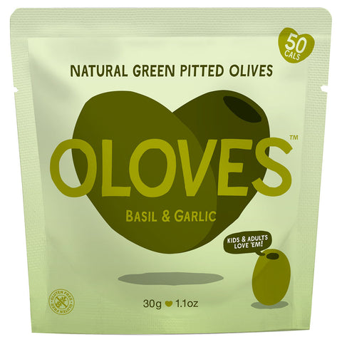Oloves Basil & Garlic Natural Green Pitted Olives, 30g