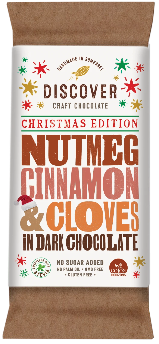 Discover Craft Chocolate - LIMITED EDITION: Christmas - Nutmeg, Cinnamon and Cloves on Dark Chocolate