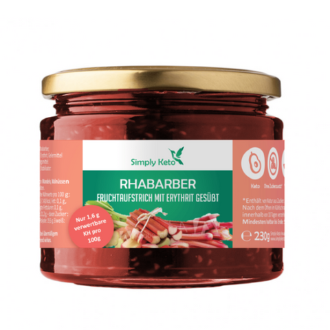 Simply Keto - Rhubarb fruit spread with erythritol, 250g