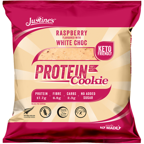 Justine's Keto Friendly Raspberry White Choc Protein Cookie - 64g