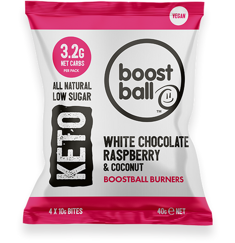 Boost Ball Keto White Chocolate Raspberry and Coconut 40g