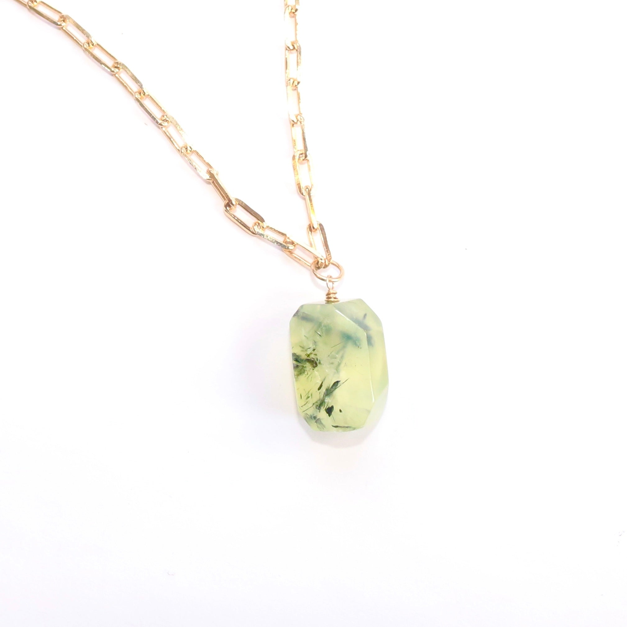Prehnite Pendant on Paperclip Chain