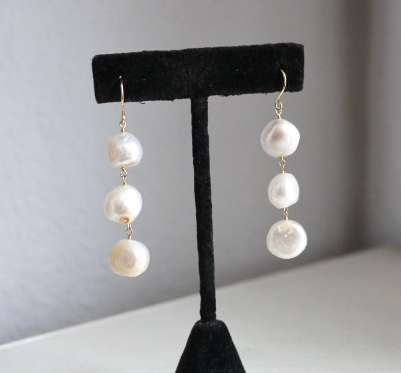 Freshwater Pearl Dangle Earrings for Sensual Healing
