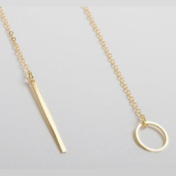 Minimalist Gold Circle & Bar Lariat Necklace