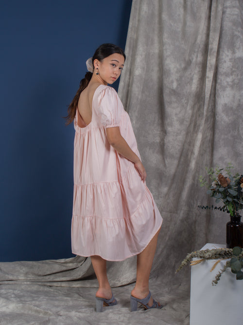 women cotton puffed sleeve tiered volume dress pink | whispers & anarchy
