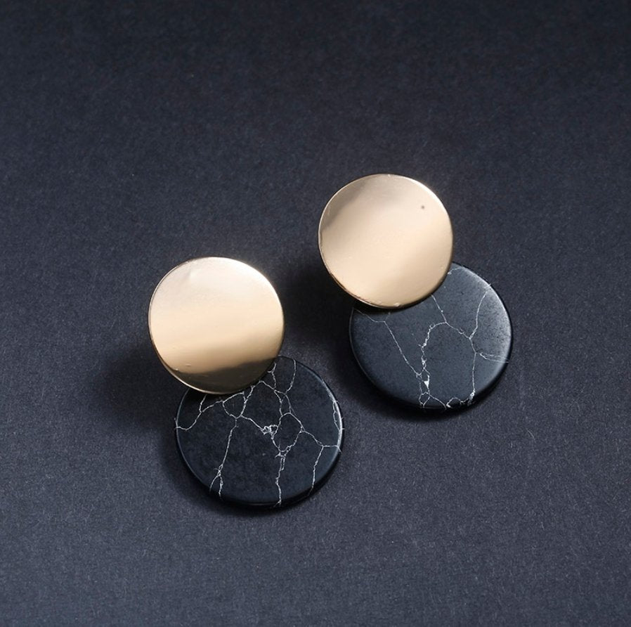 double drop natural stone earrings - black marble - Whispers & Anarchy