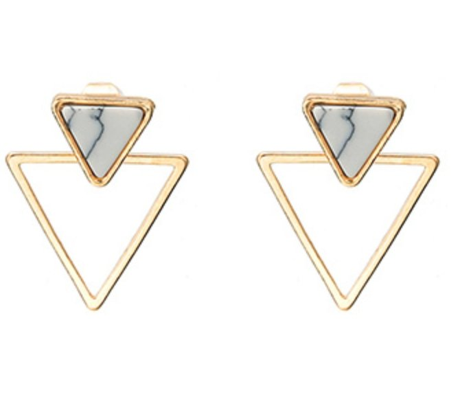 double triangle white marble earrings - Whispers & Anarchy