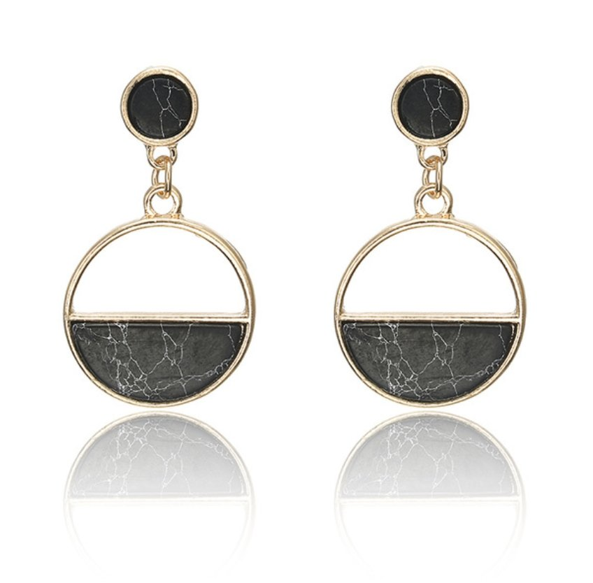 half moon natural stone earrings - black marble - Whispers & Anarchy