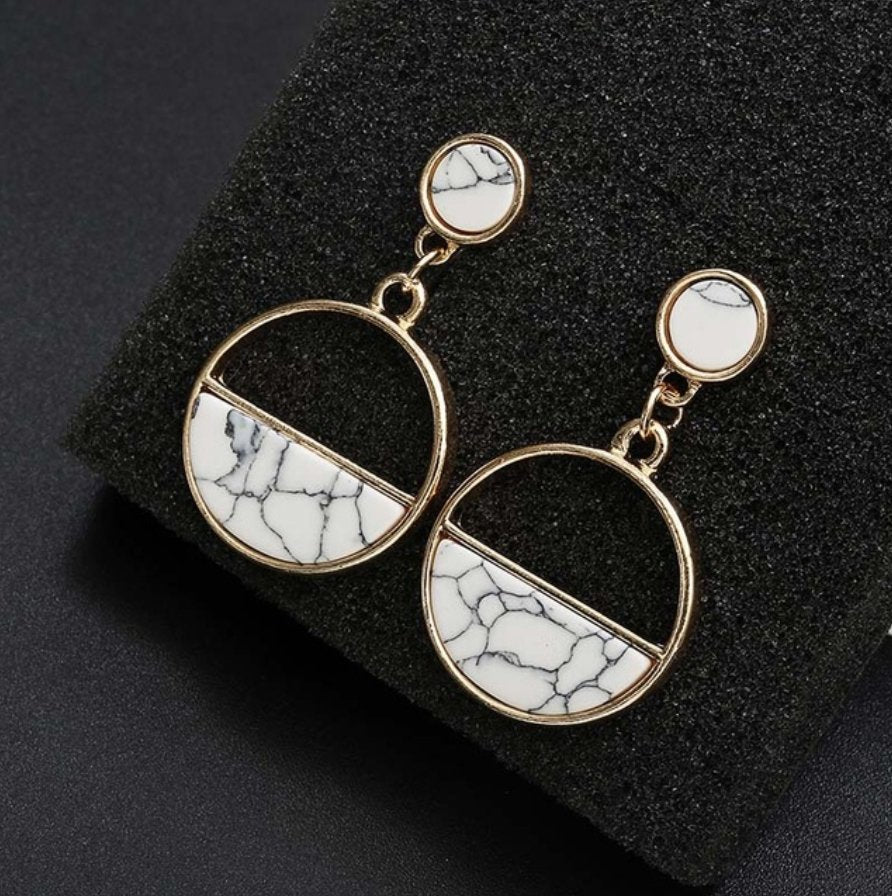 half moon natural stone earrings - white marble - Whispers & Anarchy
