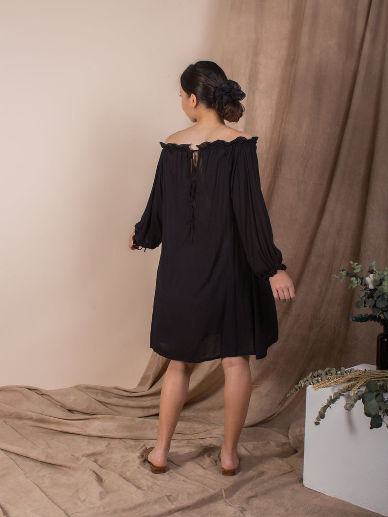 women rayon cold shoulder mini kaftan dress black | whispers & anarchy