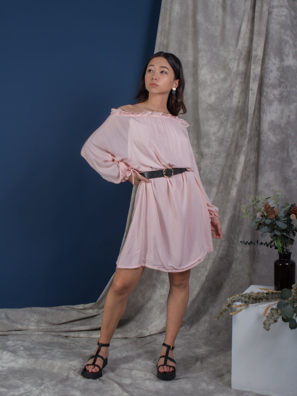 the cold shoulder kaftan - powder pink - Whispers & Anarchy
