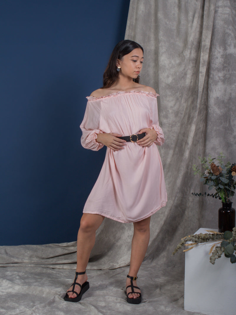 women rayon cold shoulder mini kaftan dress, pink | whispers & anarchy