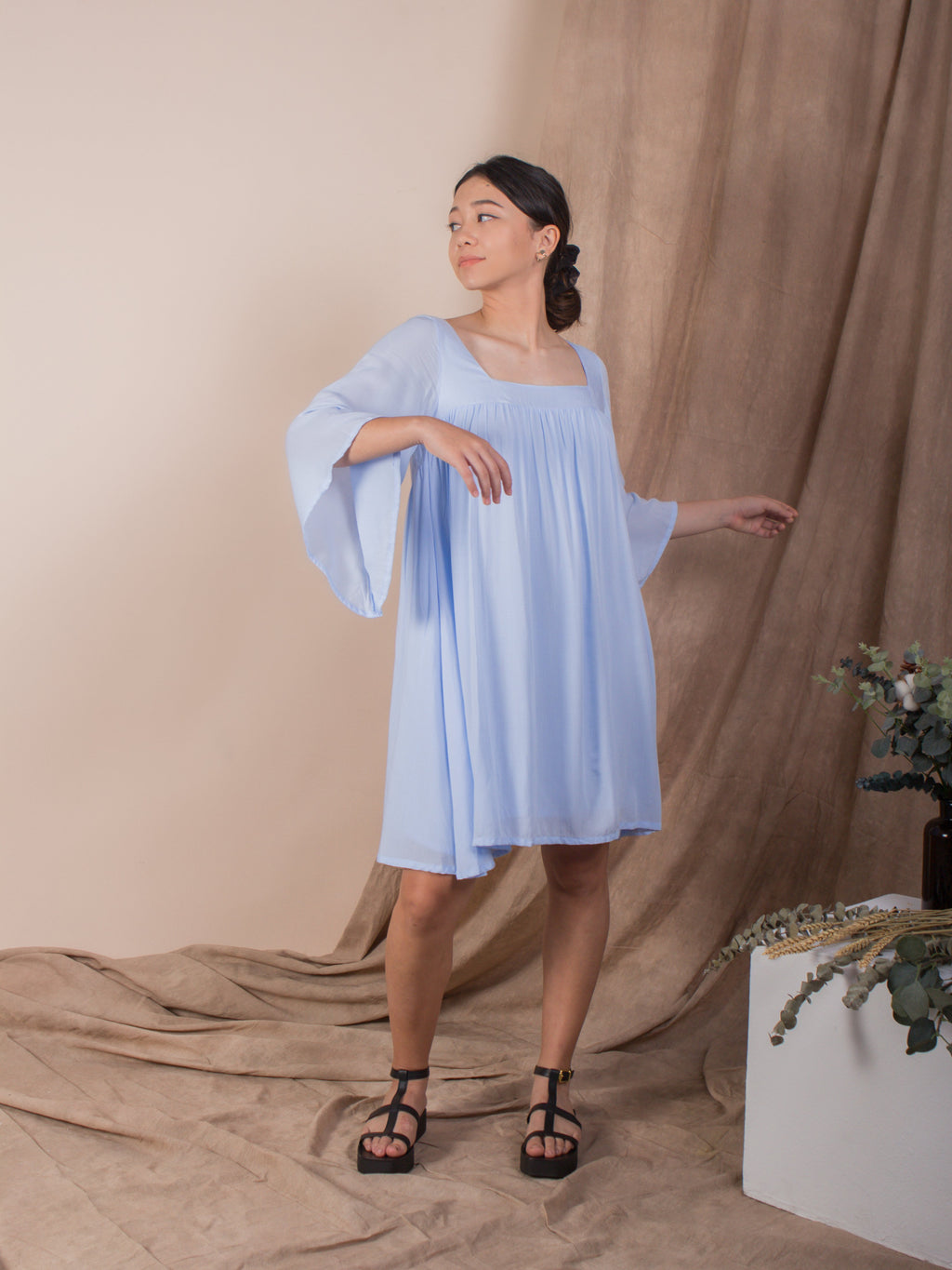 the exposed back bell sleeve dress  - blue ice melt - Whispers & Anarchy