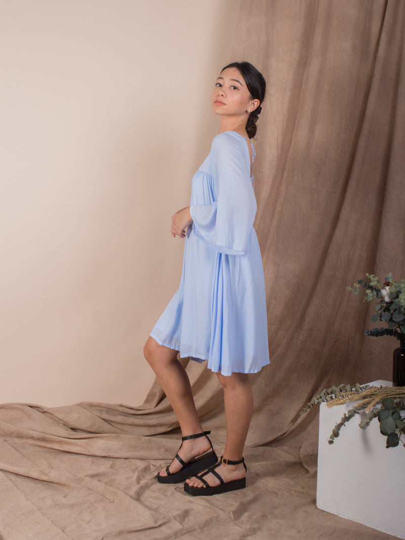 women rayon sexy back bell sleeve mini dress light blue | whispers & anarchy