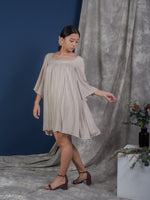 women rayon sexy back bell sleeve mini dress beige | whispers & anarchy