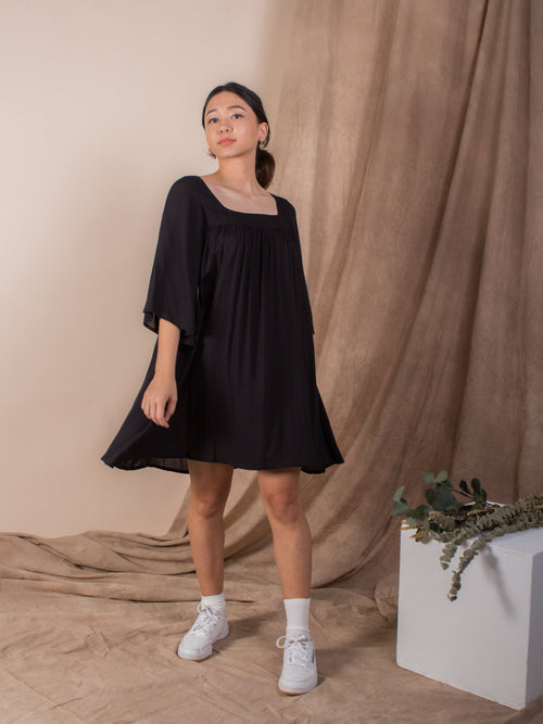 the exposed back bell sleeve dress  - jet black - Whispers & Anarchy