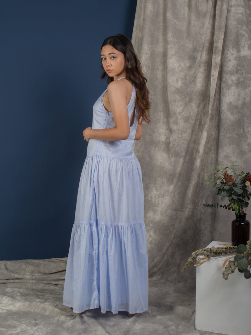 women cotton halter neck maxi dress, light blue | whispers & anarchy