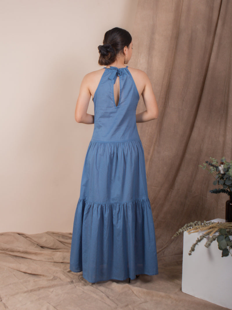 women cotton halter neck maxi dress, mid blue | whispers & anarchy