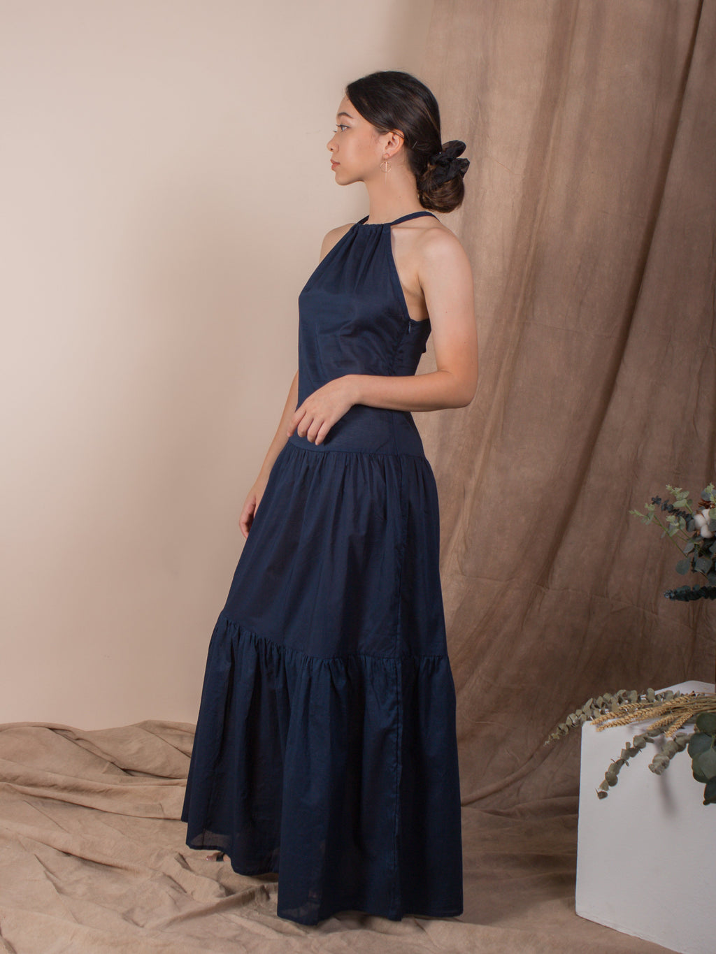 women cotton halter neck maxi dress, navy | whispers & anarchy