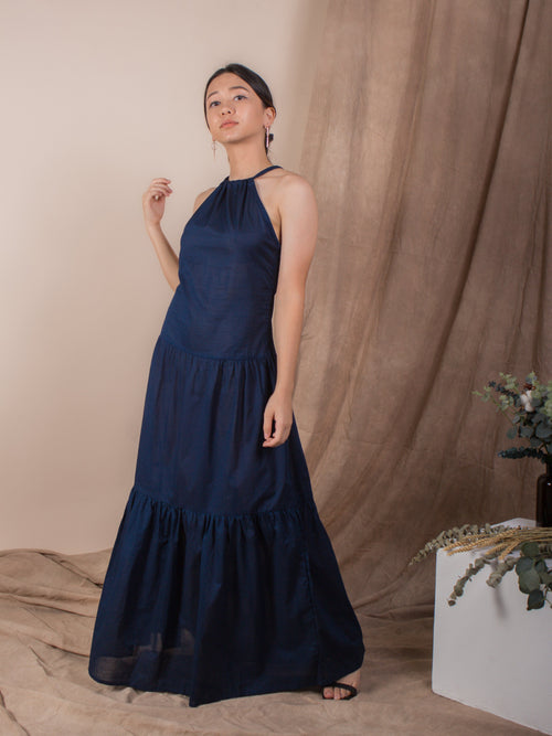 the halter neck maxi dress - navy - Whispers & Anarchy