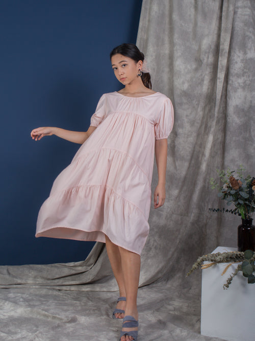 the puffed sleeve tiered dress - blush - Whispers & Anarchy