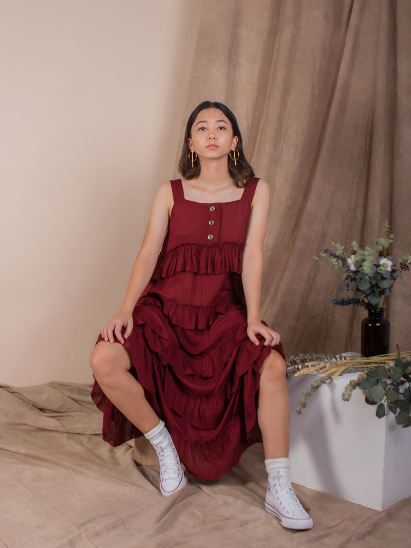 the ruffles midi dress - blood red - Whispers & Anarchy