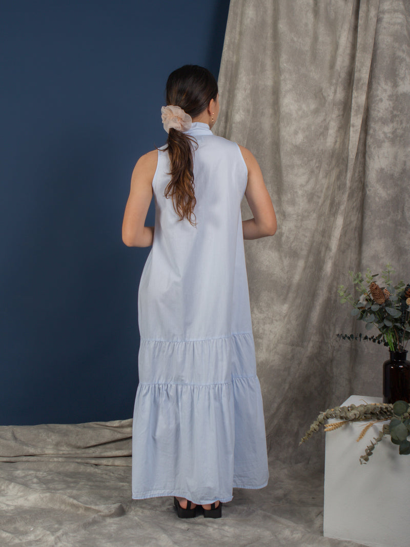women cotton trapeze shape midi dress, light blue | whispers & anarchy