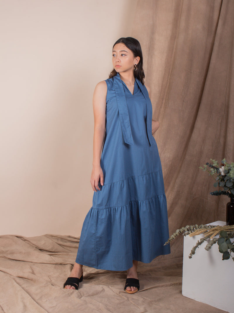 women cotton trapeze shape midi dress, mid blue | whispers & anarchy