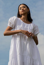 women cotton puff sleeve tiered volume dress white | whispers & anarchy