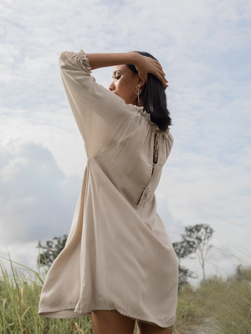 women rayon cold shoulder mini kaftan dress beige | whispers & anarchy