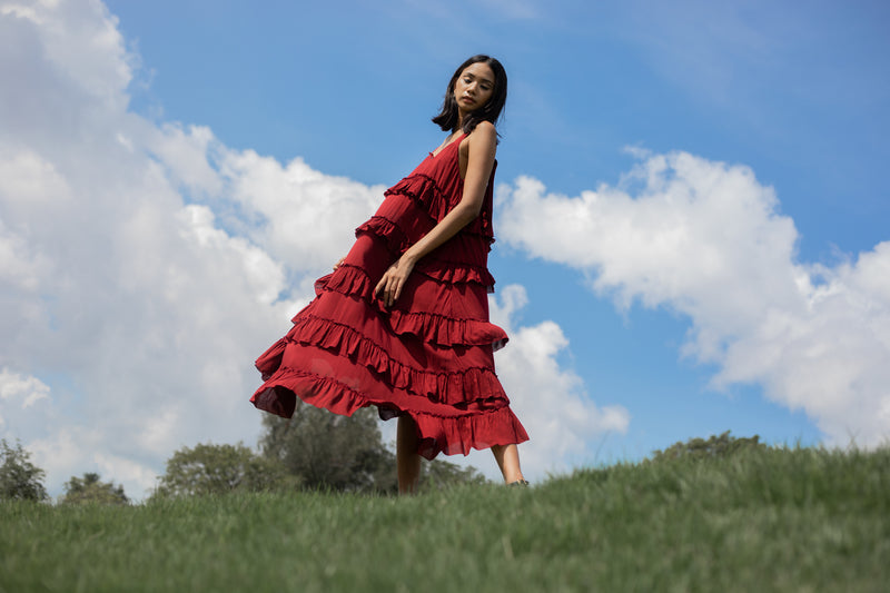 the ruffles midi dress - blood red