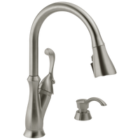 Delta Arabella 19950Z-SSSD-DST Single Handle Pull-Down Kitchen Faucet with Soap Dispenser and ShieldSpray Stainless-Kitchen-HomePlumbing