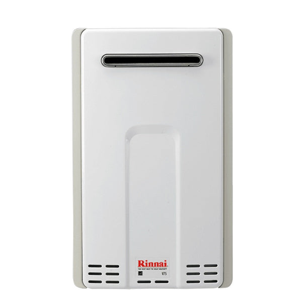 Rinnai 7.5 GPM Residential Outdoor Natural Gas Tankless Water Heater with 180,000 BTU Max Input and Electronic Water Control V75EN-tankless water heater-HomePlumbing