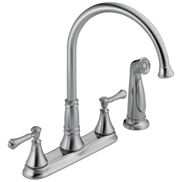 Delta Cassidy 2497LF-AR Two Handle Kitchen Faucet with Spray Arctic Stainless-Kitchen-HomePlumbing